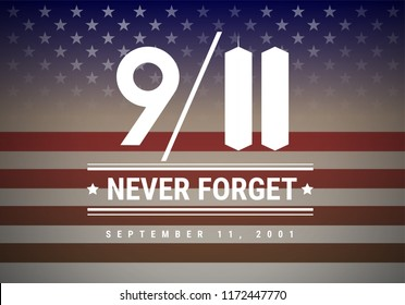 9/11 Patriot Day vector illustration background. We Will Never Forget September 11, 2001