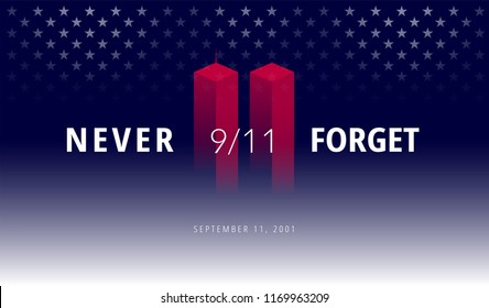 9/11 USA Never Forget September 11, 2001. Vector conceptual illustration for Patriot Day USA poster or banner. Abstract background, red, blue colors