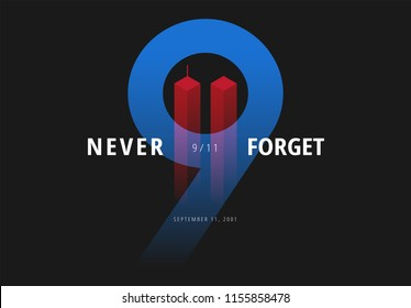 9/11 vector illustration for Patriot Day USA. Never Forget September 11 Attacks poster