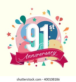91st anniversary with abstract background