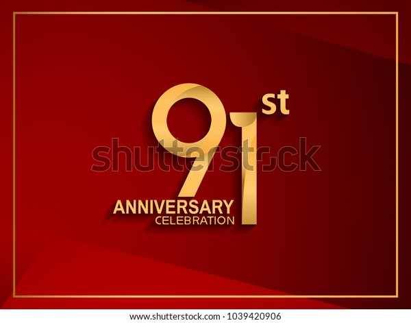 91st anniversary celebration logotype golden color isolated on red color