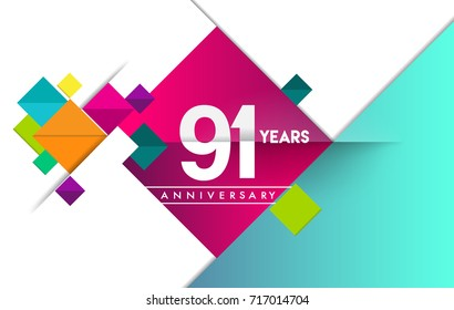 91st years anniversary logo, vector design birthday celebration with colorful geometric background and circles shape.