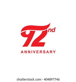 92 anniversary wave logo red