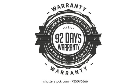 92 days warranty icon vintage rubber stamp guarantee