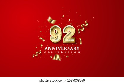 92nd anniversary celebration vector background. by using three colors in the design between white, gold and black. vectors can be edited easily according to their needs and desires.