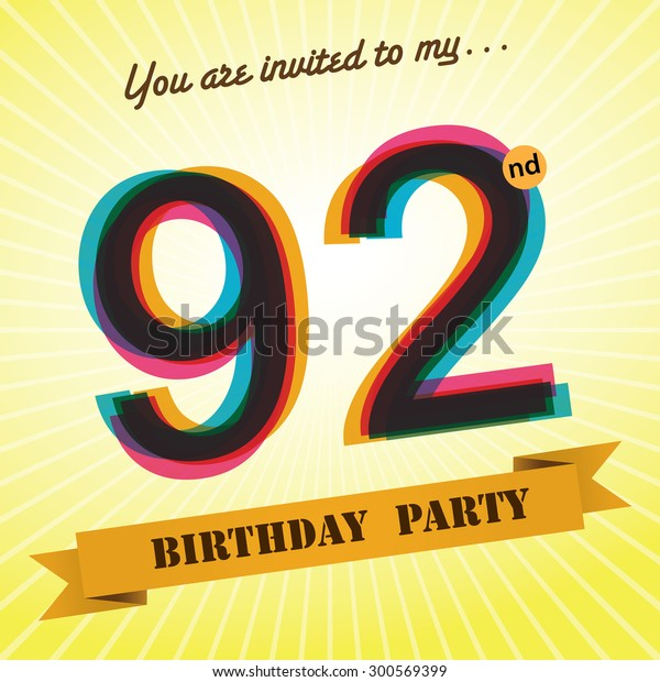 92nd Birthday Party Invite Template Design Stock Vector Royalty