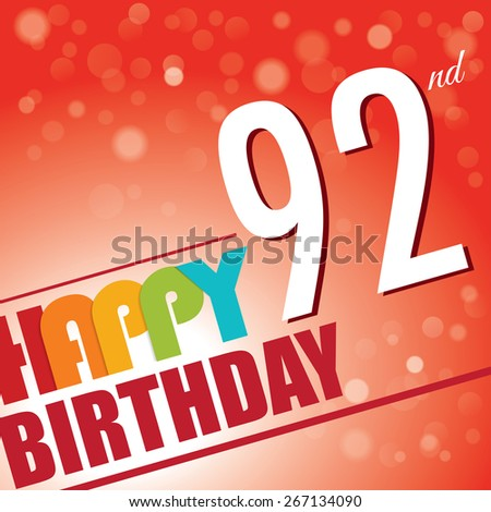 92nd Birthday Party Invitetemplate Design Bright Stock Vector