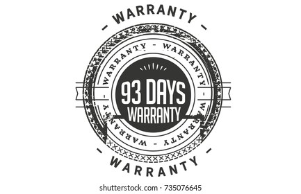 93 days warranty icon vintage rubber stamp guarantee