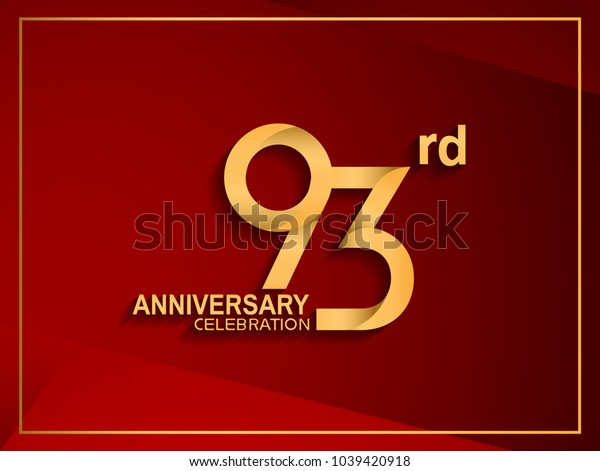 93rd anniversary celebration logotype golden color isolated on red color