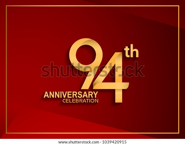 94th anniversary celebration logotype golden color isolated on red color