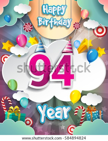 94th Birthday Celebration Greeting Card Design With Clouds And Balloons Vector Elements For The