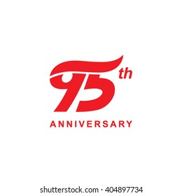 95 anniversary wave logo red
