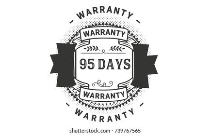 95 days warranty icon vintage rubber stamp guarantee