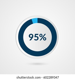 95 percent blue grey and white pie chart. Percentage vector infographics. Circle diagram business illustration
