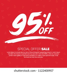 95 Percent off 95% Discount Sale Off big offer 95% Offer Sale Special Offer Tag Banner Advertising Promotional Poster  Design Vector Offers Mobile Fashion Electronics Home Appliances Books Jewelry