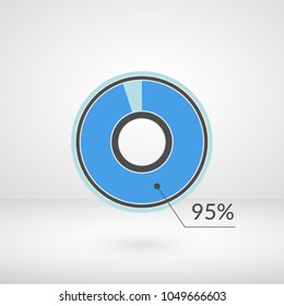 95 percent pie chart isolated symbol. Percentage vector infographics. Circle diagram sign. Business illustration icon for marketing project, finance, financial report, web, concept design, download