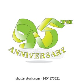 95 year anniversary celebration logotype. 95 th anniversary logo golden colored isolated, vector design for greeting card and invitation card
