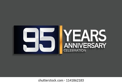 95 years anniversary celebration design with blue square and golden line isolated on gray background