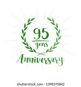 95 years anniversary celebration logo. Anniversary watercolor design template. Vector and illustration.