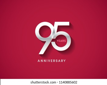 95 years anniversary celebration logotype with silver color isolated on Red background