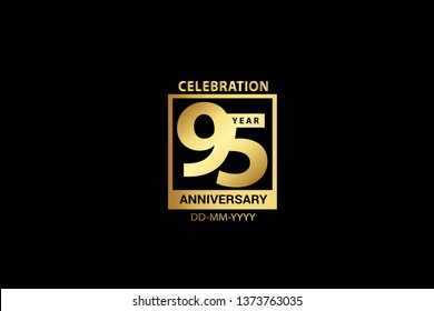 95 years Anniversary celebration logotype. Graph Celebration logo with golden and Spark light white color isolated on black background, design for celebration, invitation and greeting card-Vector