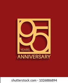 95 years anniversary design logotype golden color in square isolated on red background for celebration event
