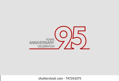 95 years anniversary linked logotype with red color isolated on white background for company celebration event
