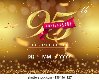 95 years anniversary logo template on gold background. 95th celebrating golden numbers with red ribbon vector and confetti isolated design elements