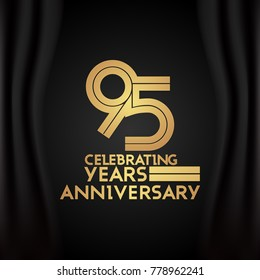 95 Years Anniversary Logotype with  Golden Multi Linear Number Isolated on Black Background