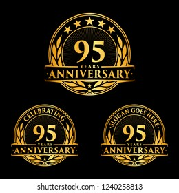 95 years anniversary set. 95th celebration logo collection. Vector and illustration.