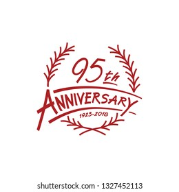 95 years design template. Vector and illustration. 95 years logo.
