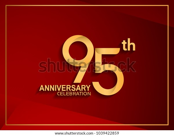 95th anniversary celebration logotype golden color isolated on red color
