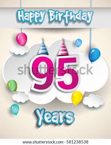 95th Birthday Celebration Design With Clouds And Balloons Greeting Card Invitation For