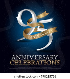 95th years anniversary celebration silver and gold logo with golden ribbon on dark blue background. vector illustrator