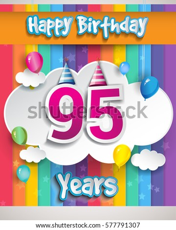 95th Years Birthday Celebration With Balloons And Clouds Colorful Vector Design For Invitation Card