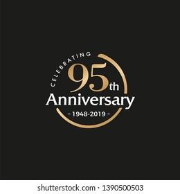 95TH/ninety-five/95 Years Anniversary Logo Vector Template Design Illustration