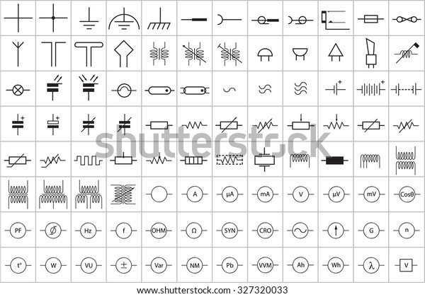 96 electronic electric symbol vector vol1 stock vector. Black Bedroom Furniture Sets. Home Design Ideas