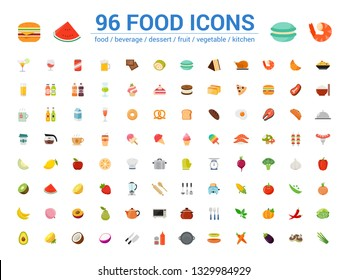96 food full color line icons set. Vector illustration on white background