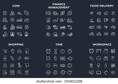 96 icon. coin. finance management. foon delivery. shopping. time. workspace pack symbol template for graphic and web design collection logo vector illustration