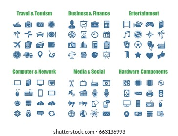 96 universal vector icons - Travel and Tourism, Business and Finance, Computer Networks, Media and Social, PC Hardware Components, Entertainment