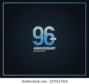 96 years anniversary logotype with cross hatch pattern blue color for celebration