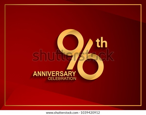 96th anniversary celebration logotype golden color isolated on red color