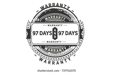 97 days warranty icon vintage rubber stamp guarantee