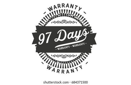 97 days warranty vintage grunge rubber stamp guarantee background
