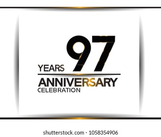 97 years anniversary black color simple design isolated on white background for celebration