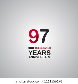 97 years anniversary simple colored number for company celebration isolated on grey background