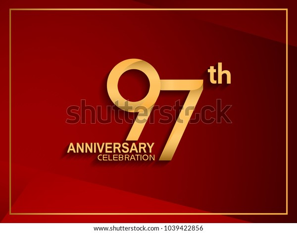 97th anniversary celebration logotype golden color isolated on red color