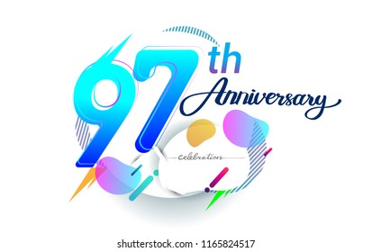 97th years anniversary logo, vector design birthday celebration with colorful geometric background, isolated on white background.
