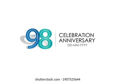 98 year anniversary celebration Blue and Tosca Colors Design logotype. anniversary logo isolated on White background - vector