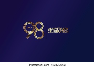 98 year anniversary celebration Gold Line. logotype isolated on Blue background for celebration, invitation card, and greeting card-Vector